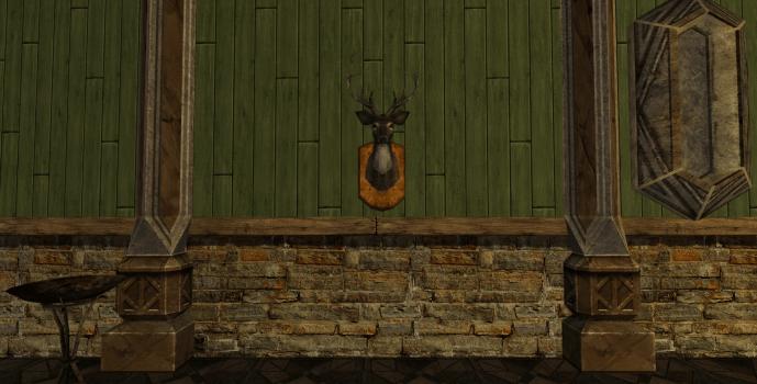 Tête de daim montée au mur des Rohirrim