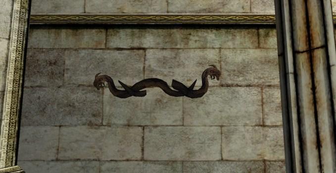 Gravure murale représentant deux dragons