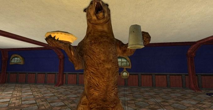 Ours brun avec tourte et chope