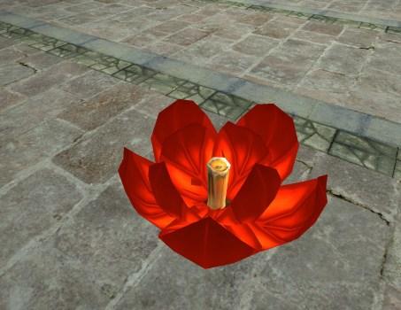 Lanterne Flottante Rouge – Entrouverte