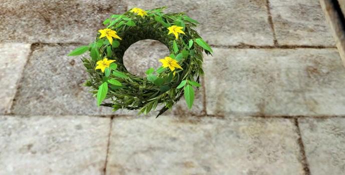 Couronne florale jaune du Solstice d'été (Yellow Midsummer Floral Wreath)