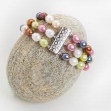 Aqua Maine Seaglass, Freshwater Pearl and Amazonite Bracelet 6
