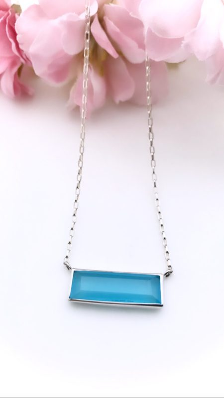 Blue Chalcedony Bar Necklace 1