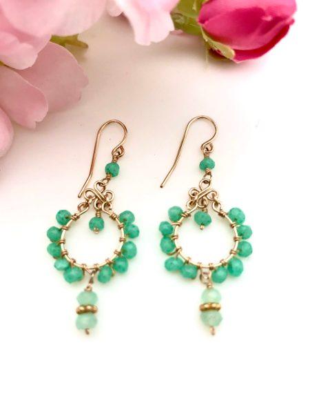 Green Chalcedony Chandelier Earrings 1