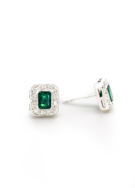 Emerald Heirloom Diamond Halo Earrings 1