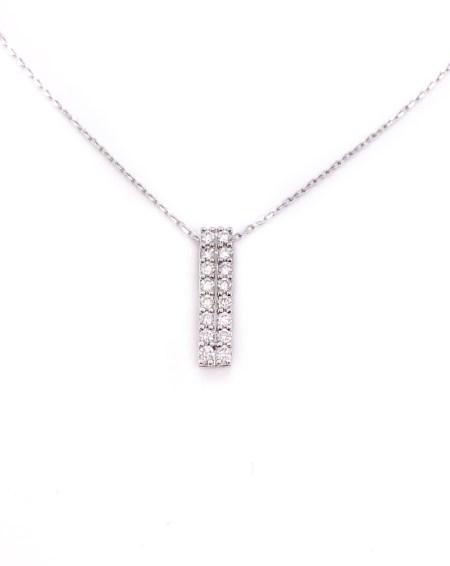 18k Diamond Double Column Necklace 1