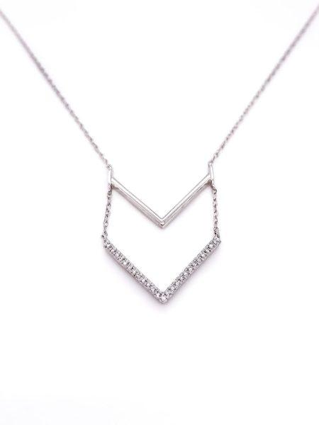 Double Cheveron Diamond Necklace 2
