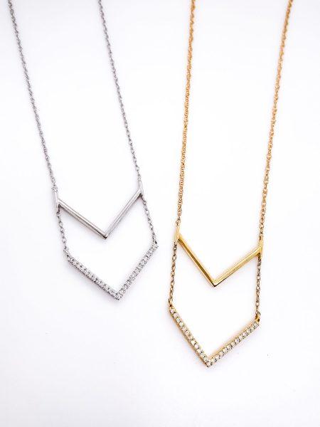 Double Cheveron Diamond Necklace 1