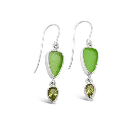 Seaglass and Gemstone Dangle Earrings 3