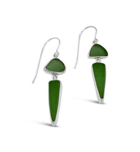 Double Drop Seaglass Dangle Earrings 3