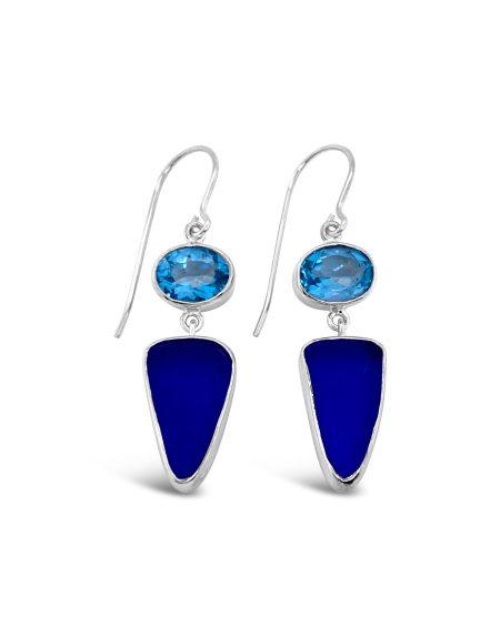 Seaglass and Gemstone Dangle Earrings 2