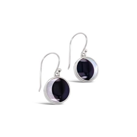 Onyx and Mother of Pearl Crescent Moon Earrings 1