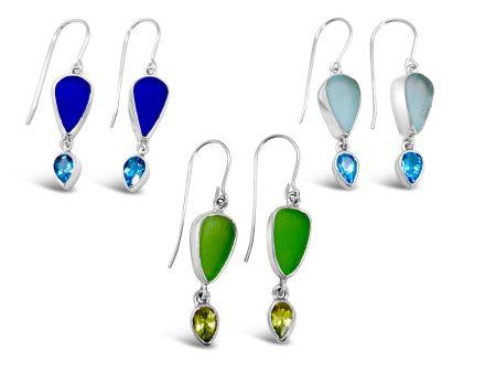 Seaglass and Gemstone Dangle Earrings 1