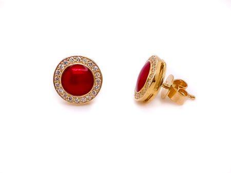 14K Gold Red Enamel Post Earrings with Diamond Halo 2