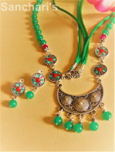 Green jade beads and silver oxidized necklace set