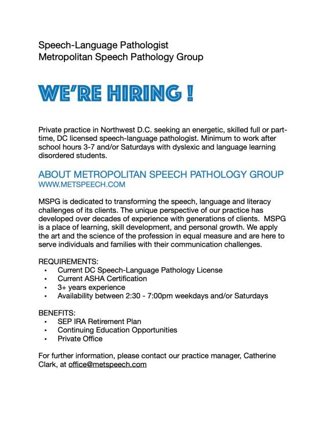 MSPG SLP Job Description