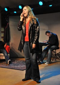 "Liz Pollack singing ""Sad Like Me"" at [best imitation]. Photo credit: Paul Gillis."