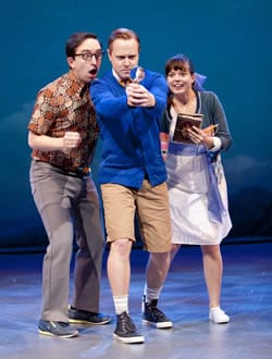 (l-r) James Gardiner as Fenton, Stephen Gregory Smith as Billy Argo and and Margo Seibert as Caroline (Photo: Scott Suchman)