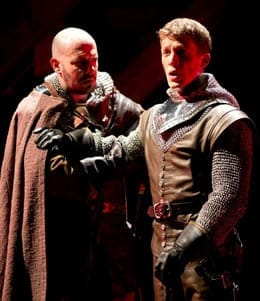 Chris Genebach as Exeter and Zach Appelman as Henry V, (Photo: Scott Suchman)
