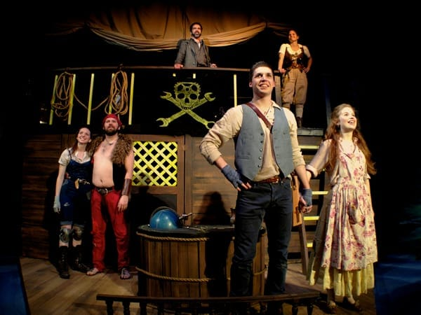 The cast of Pirate Laureate: Megan Reichelt, Doug Wilder, Matthew Pauli, Maggie Erwin, Alex Vaughan and Megan Graves. (Photo by Ryan Maxwell)