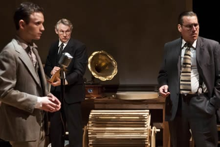 (l-r) Stephen Russell Murray, as Nathan Leopold, Michael Kramer, as defense attorney Clarence Darrow and Eric Lucas as prosecutor Robert Crowe (Photo: Teresa Castracane)