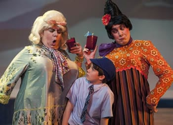 James (Sean Silvia - center) is bossed around by his mean aunts (l-r: Phillip Reid and Joe Brack)