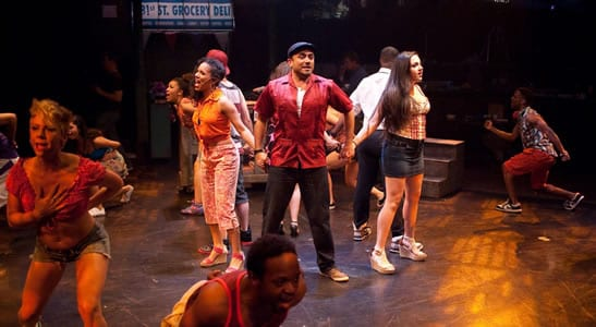 David Gregory as Usnavi (center) with ensemble (Photo:  Photo by Kirstine Christiansen)