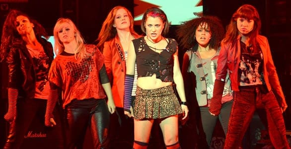 The women of the touring company of Green Day's American Idiot