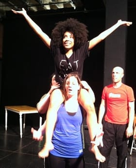 In rehearsal:  Sarah Ewing (front), Sharisse Taylor, and Ryan Tumulty.