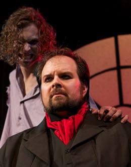 Greg Bowen as The Creature and Andrew Lloyd Baughman as Victor. (Photo: Jack Sossman)