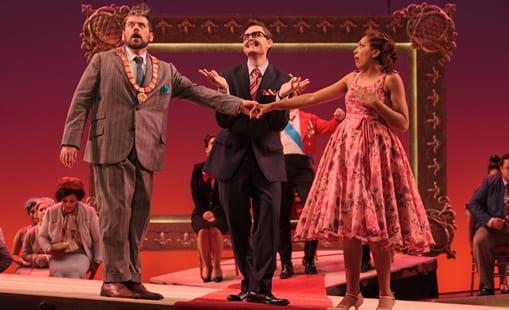 (l-r) Andrew Wilkowske as La Rocca, Jason Hardy as Baron Kelbar and Jacqueline Echols as Giulietta (Photo: Karli Cadel/The Glimmerglass Festival)