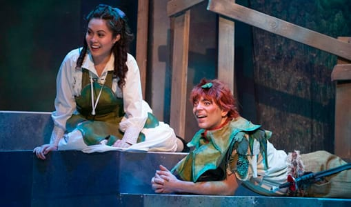 Justine Moral as Wendy and Jonathan Atkinson as Peter Pan (Photo: Margot Schulman)