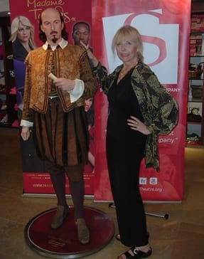 Linda Bryce with the visiting wax figure of William Shakespeare in STC's gift shop