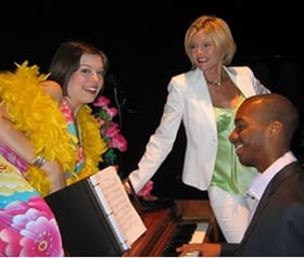 (l-r) Margo Seibert, Tracy McMullen and music director Darius Smith, 2007, Queen of the Bohemian Dream