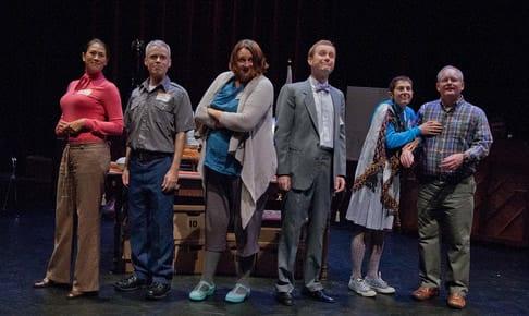 The cast of Beertown: (l-r) Elaine Yuko Qualter, Jon Reynolds, Wyckham Avery, Joshua Drew, Rachel Grossman, Pete Miller (Photo: C. Stanley Photography)