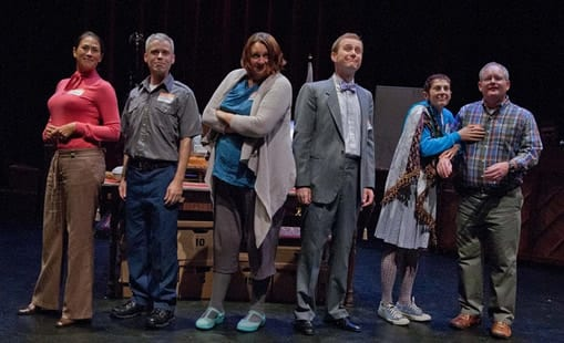(l-r) Elaine Yuko Qualter, Jon Reynolds, Wyckham Avery, Joshua Drew, Rachel Grossman, and Pete Miller. (Photo: C. Stanley Photography)