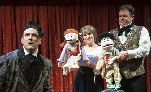 (l-r)  Peter Boyer, Tracey Stephens, Russell Sunday and puppets Want and Ignorance (Photo: Chris Banks)