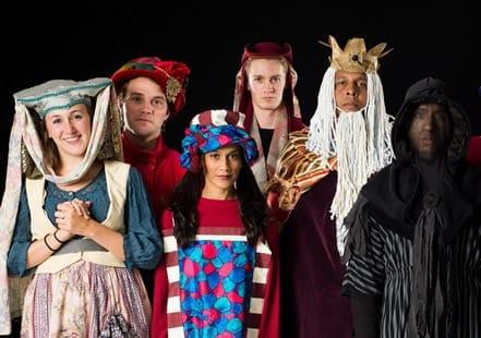 The ensemble: (l-r)Caroline Wolfson, Josh Sticklin, Lynette Rathnam, Logan Sutherland, Keith Irby, Jase Parker
