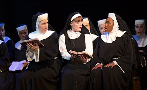 (l-r, center) Florrie Bagel, Lael van Keuren and Ta'Rea Campbell in Sister Act (Photo: Joan Marcus)