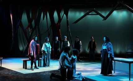 The Spirits ensemble: (l-r) Adriana Gonzalez, Brendan Sliger, Aurelio  Dominguez, Gregory Stuart, Adrienne, Starr, Eduardo Castro (Photo: Imraan Peerzada)