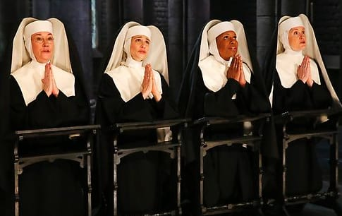 (l-r) Jessica Molasky as Sister Berthe, Elena Shaddow as Sister Sophia, Audra McDonald as Mother Abbess, Christiane Noll as Sister Margaretta (Photo by: Will Hart/NBC)