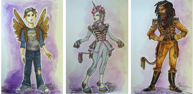 Some costume sketches by Erik Teague for The Lion, The Unicorn and Me