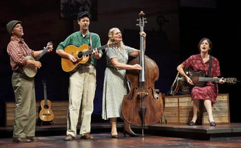 From left: David Finch, David M. Lutken (as Woody Guthrie), Helen Jean Russell, and Leenya Rideout at The Cleveland Play House. (Photo: Roger Mastroianni)