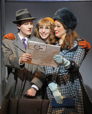 Sam Ludwig as J. Pierrepont Finch, Aileen Goldberg as Smitty and Angela Miller as Rosemary (Photo: Stan Barouh)