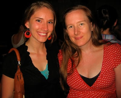 Amber Jackson with Sarah Ruhl at Passion Play, 2010 (Photo: courtesy of WSC Avant Bard)