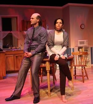David Zimmerman as Death and Kimberley Gilbert as Corberus, the dog (Photo: Jati Lindsay)