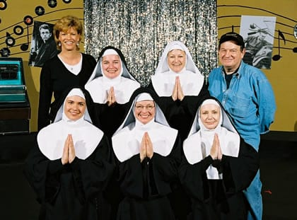 Nunsense, 2006 won the 2007 Ruby Griffith Award for Outstanding Achievement in a Musical. Back row from left: Patricia Groisser (Sister Robert Ann) and Lee Michelle Rosenthal (Sister Mary Leo);   Front row from left:   Erin Cassell (Sister Mary Hubert), Aetna Thompson (Mother Superior), and Marsha Coder (Sister Mary Amnesia).  At left in back:  Choreographer Trish Baker,  and to the right,production of Annie.