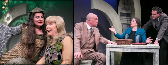 BACK TO METHUSELAH (Photos C. Stanley Photography)  In the Beginning -  (l-r) Laura Giannarelli as Serpent and Lynn Steinmetz as Eve  The Gospel of the Family Barnabas  (l to r)  Conrad Feininger as Burge, Laura Giannarelli as Frances, and Michael Avolio as Conrad
