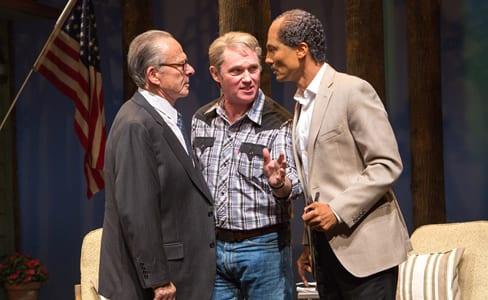 (l-r) Ron Rifkin as Menachem Begin, Richard Thomas as Jimmy Carter and Khaled Nabawy as Anwar Sadat in Camp David (Photo: Teresa Wood)