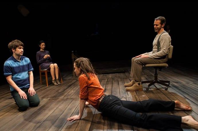 Cast of The Grown-up: (l-r) Matthew Stadelmann, Tiffany Villarin, Brooke Bloom and Paul Niebanck (Photo: Bill Brymer)